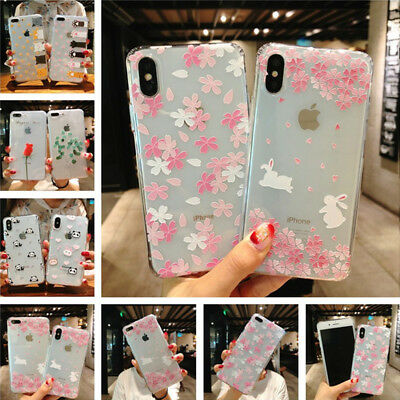 Shockproof Rubber Cute Pattern Soft TPU Clear Case Cover For iPhone X 8 6 7 Plus
