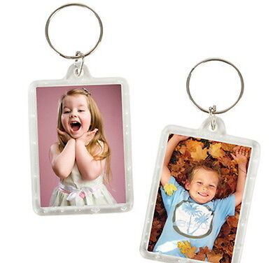 24 Transparent Blank Insert Photo Picture Frame Key Cain Ring Keychain USA Ship