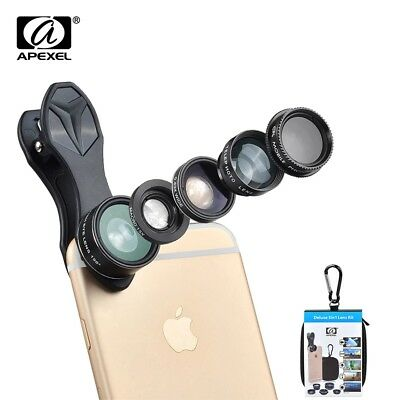 APEXEL 5 in 1 Fisheye Wide Angle Macro lens Telescope telephoto lens CPL Mobile
