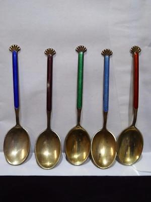 ANTIQUE ART DECO DAVID ANDERSEN NORWAY ENAMELED 925s STERLING SILVER SPOONS