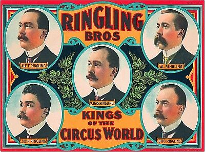 Ringling Brothers Kings of the Circus World Vintage Travel Art Poster Print