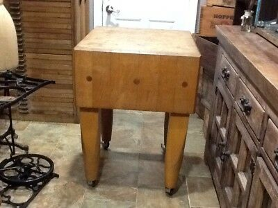 Antique Vintage Maple Butcher Block Island Table Excellent Condition