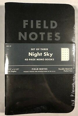 Field Notes Limited FNC-19 SUMMER 2013 NIGHT SKY Memo Books 3Pk, Sold Out
