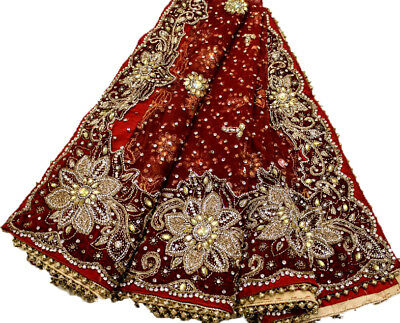 Vintage Heavy Dupatta Antique Women Bridal Long Scarf Embroidered Stole HD1083