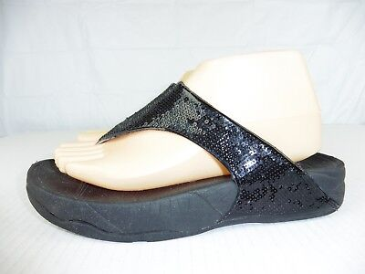 291907bdcc0c FitFlop Womens sz 8 Electra Sequined Black Flip Flop Thong Toning Sandals
