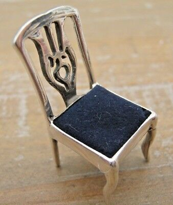Pretty Edwardian Style Hallmarked Sterling Silver Novelty Chair Pin Cushion