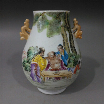 Beautiful Chinese Antique Famille Rose Porcelain Figure Two Ear Zun Vase