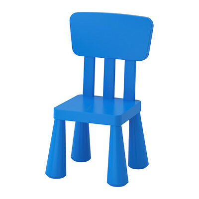 IKEA MAMMUT Children's Chair Blue Plastic Assembly Required NEW 603.653.46