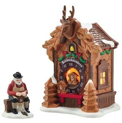Dept 56 Alpine Village Christmas Market Black Forest Clocks Set/2  NEW Free Ship