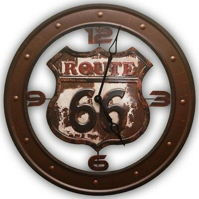 Route 66 Highway USA Americana Retro Distressed Metal Wall Clock, Brown