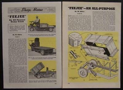 3 Wheel Dump Truck All purpose Farm Gator 1946 How To Build PLANS Utility Truck