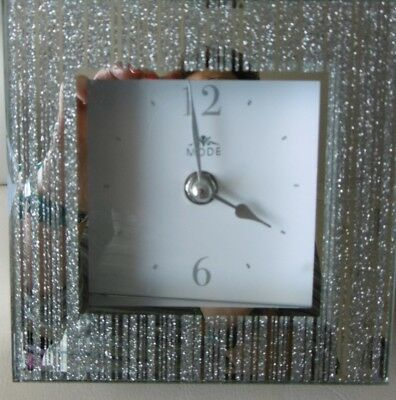 Brand New Glass Mirror Mantle Clock With White Face
