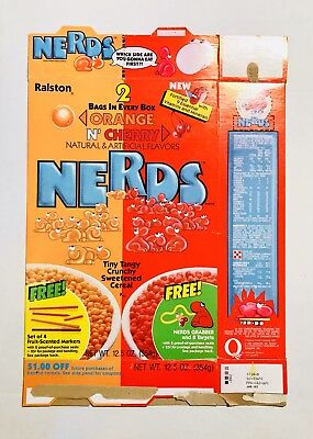Vintage 1986 Ralston NERDS Orange N' Cherry Cereal Box Willy Wonka Candy gum