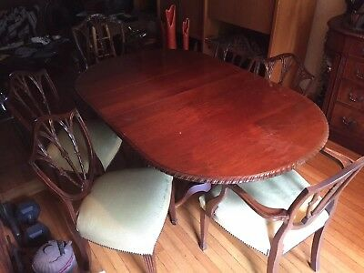 Antique Dining Room Table Chairs Side Board OLD EXCELLENT BALL CLAW / MAKE OFFER