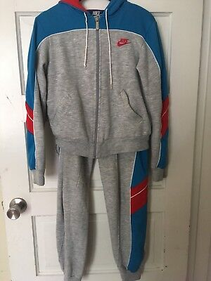 d8b8f76aa93b 80s RARE Nike Sweatsuit Track Suit Vintage Rare Grey Red White Blue Tag Logo