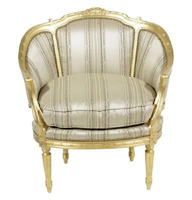 Antique Style Louis XVI Style Giltwood Bergere