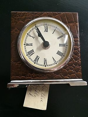 Two's Company Leather And Nickel Numeral Carriage Desk Clock New