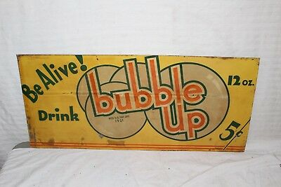 """Rare Vintage 1930's Bubble Up 5c Soda Pop Gas Oil 27"""" Embossed Metal Sign"""