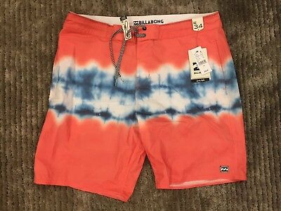 f4fd5a5c80 BNWT BILLABONG BOARDSHORTS Size 34 Orange/blue/white Tiedye - $19.99 ...