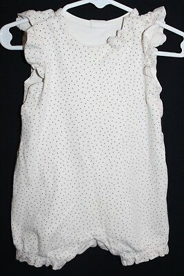 H&M * Baby Girl One-Piece Romper 4-6 months * Natural w/ Polka Dots & Bow