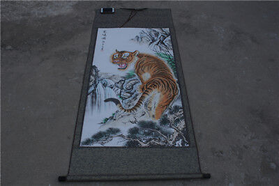 """70"""" China Art Ink Pager Picture Album Tiger Drawing Scroll Painting """"上山虎"""""""