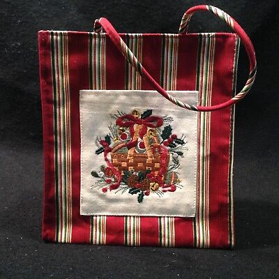 Longaberger Holiday 2005 Fabric Tote NEW Embroidered Holiday Stripe 23154166