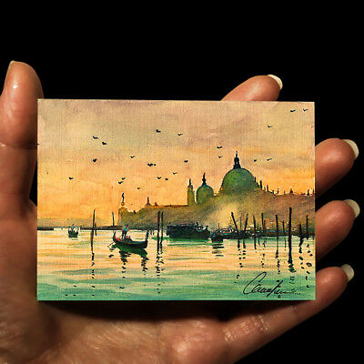 """ORIGINAL HAND PAINTING ART WATERCOLOR PICTURE MINIATURE EUROPE ITALY """"Venice"""""""