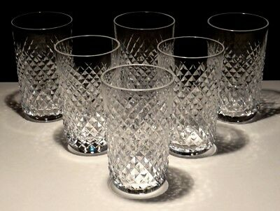 6 Vintage Waterford Alana 12 Ounce Tumbler Glasses  ~ Old Gothic Mark
