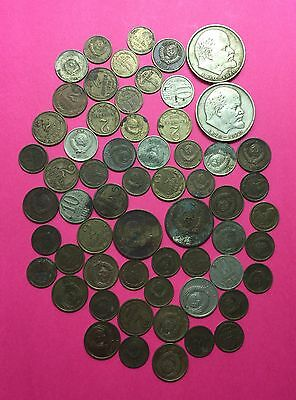 RUSSIA -Lot of  60 Vintage  Coins ,mixed dated & various denominations.