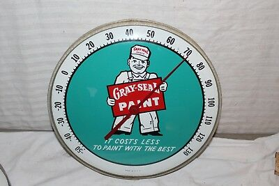"""Vintage 1950's Gray-Seal Paint Gas Oil 12"""" Metal & Glass Thermometer Sign"""