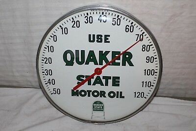 """Vintage 1950's Quaker State Motor Oil Gas Station 12"""" Metal Thermometer Sign"""