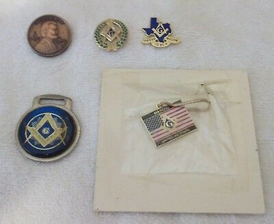 LOT OF MASONIC LAPEL/HAT PINS and WATCH FOB - TEXAS