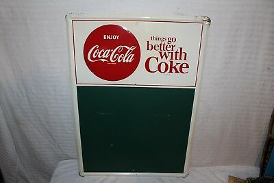 "Vintage 1950's Coca Cola Soda Pop Gas Station 28"" Embossed Metal Sign"