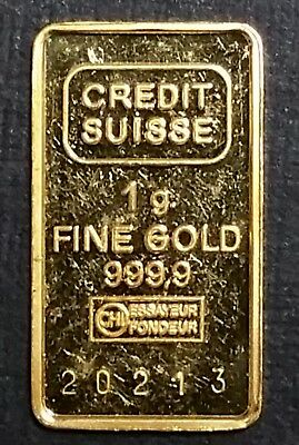 Vintage 1 Gram Credit Suisse Fine Gold Bar .9999 Fine Gold Serialized # 20213