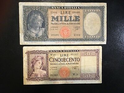 ITALY  (2 Notes)  500 and 1000 Lire  1947