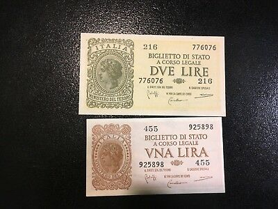 ITALY  (2 Old Notes)  1 and 2 Lire  1944  --  UNC