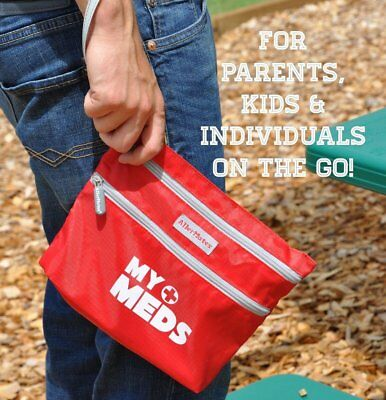 RED Medication Bag First Aid bag - insulated  Allergy - Asthma -- Diabetes