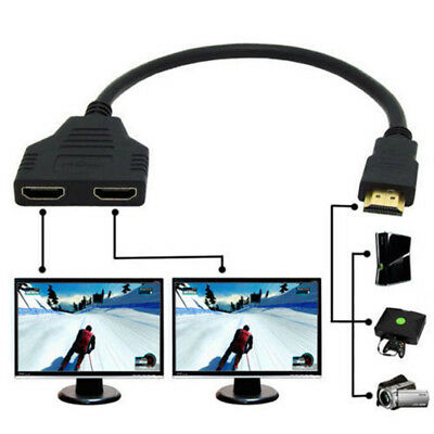 HDMI 1 Male To Dual HDMI 2 Female 4K 3D Splitter Cable Adapter HD LED LCD TV