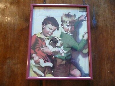 """Old Vintage FRANCES TIPTON HUNTER """"Friends in Need"""" Puppy Dog Print under glass"""