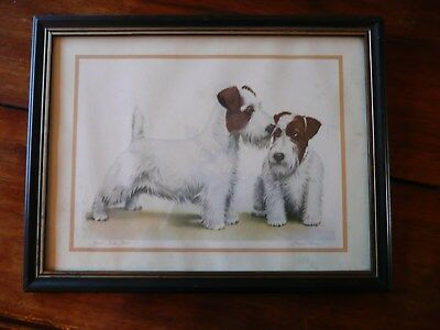 """Old Vintage DANCHIN Sealyham Terriers """"How Are You?"""" Puppy Dog Print under glass"""