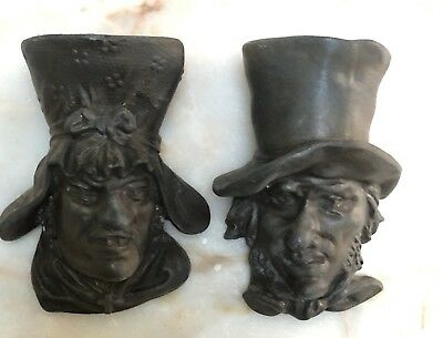 Antique Spelter Bronze Metal Charles Dickens L.s.i. Wall Figurines