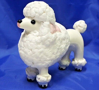 Vintage Porcelain French Poodle Dog Figurine Sugar Style-Lamb wool  White 4 1/2""