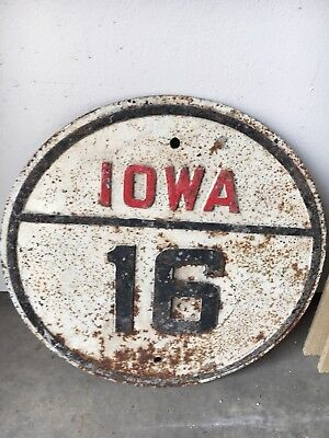 "Vintage, original Iowa Highway 16 road sign - cast iron, 16"" dia. - 1930's/'40's"