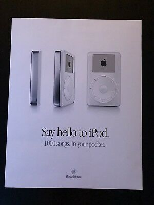 Apple Original iPod Advertisement Poster From 2001 22x28