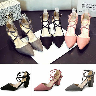 f9e99d418a6d0 H Sexy Women's Block Kitten High Heels Suede Leather Shoes Pumps Pointed  sandals