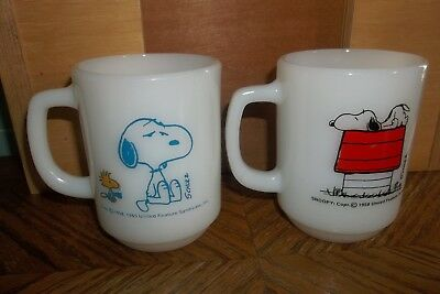 "Lot of 2 Fire King Snoopy & Woodstock ""Allergic to Mornings"" -Coffee-  Cups/Mugs"