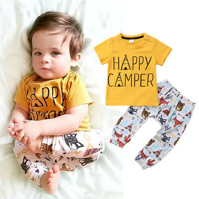 USA Toddler Newborn Baby Boys Tops T-shirt Pants 2Pcs Outfits Set Clothes 0-2T