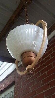 ANTIQUE VICTORIAN HANGING  CEILING LIGHT FIXTURE LAMP w/Custard Glass Shade 32""