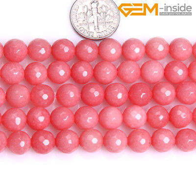 """4,6,8mm Round Faceted Pink Jade Loose Stone Spacer Beads Jewellery Making 15"""" CA"""