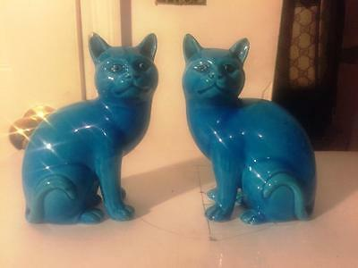Pair of Late 19th Century Antique Chinese Blue Cat Statue